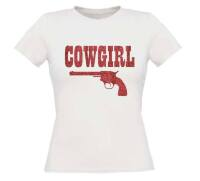 Cowgirl t-shirt korte mouw glitter rood zilver met pistool