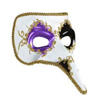 Venetiaans masker met lange neus wit paars zwart
