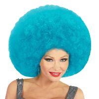 Disco soul groovy afro pruik azuur licht blauw groot
