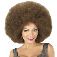 Disco soul groovy afro pruik bruin groot