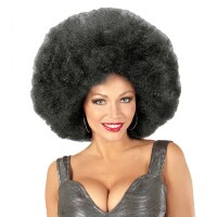 Disco soul groovy afro pruik zwart groot