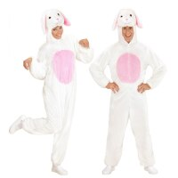 Huppelend konijn konijnen kostuum wit pluche volwassen