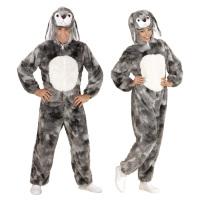 Konijnen kostuum grijs pluche volwassen bunny hup