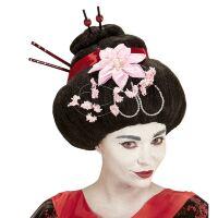 Oosterse geisha pruik met bloemen en stokjes