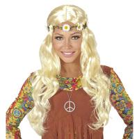 Pruik dames hippie middeleeuwen blond
