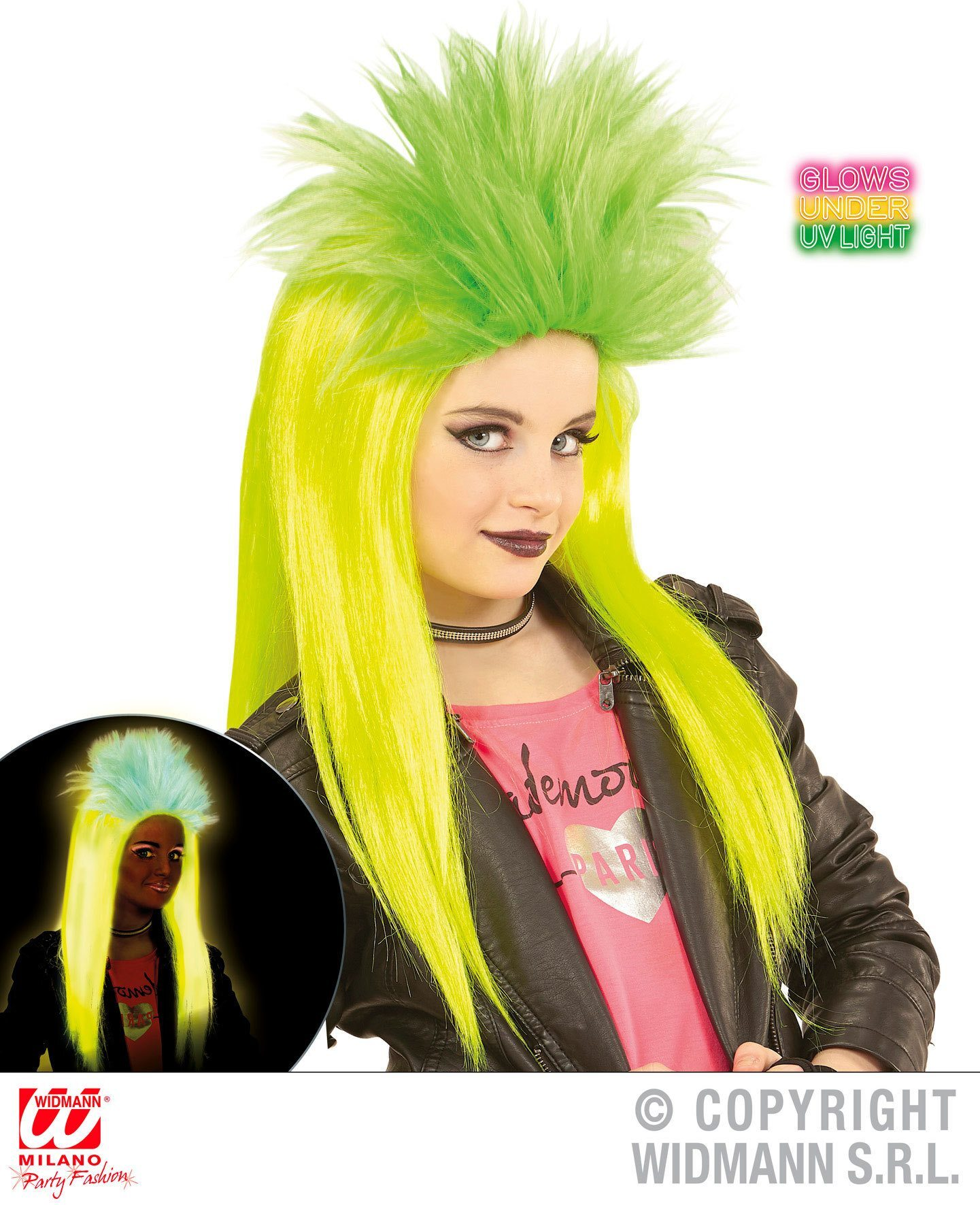 Punk pruik glow in the dark kind geel groen