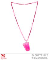 Party shot glas neon rose met ketting