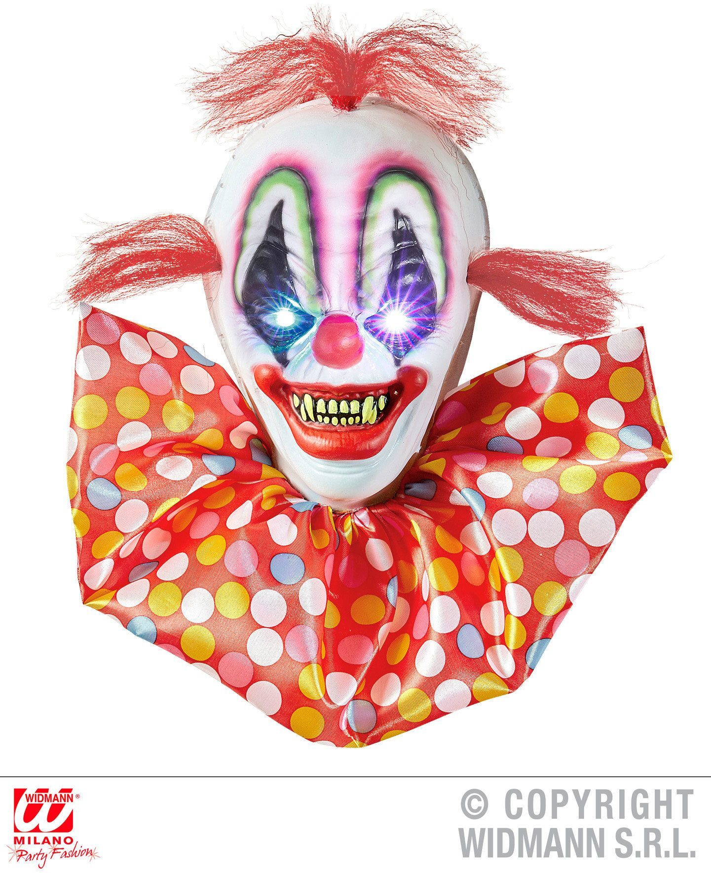 Scary horror clown decoratie met licht effect  40 cm