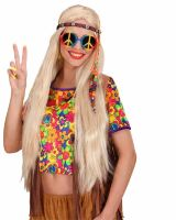 Hippie bril love en peace multi kleuren