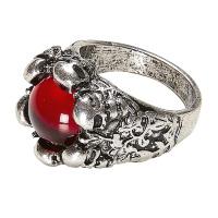 Schedel ring met rode steen