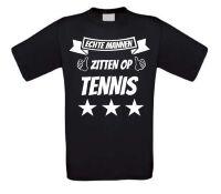 Echte mannen zitten op tennis t-shirt