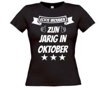 Echte vrouwen zijn jarig in oktober t-shirt