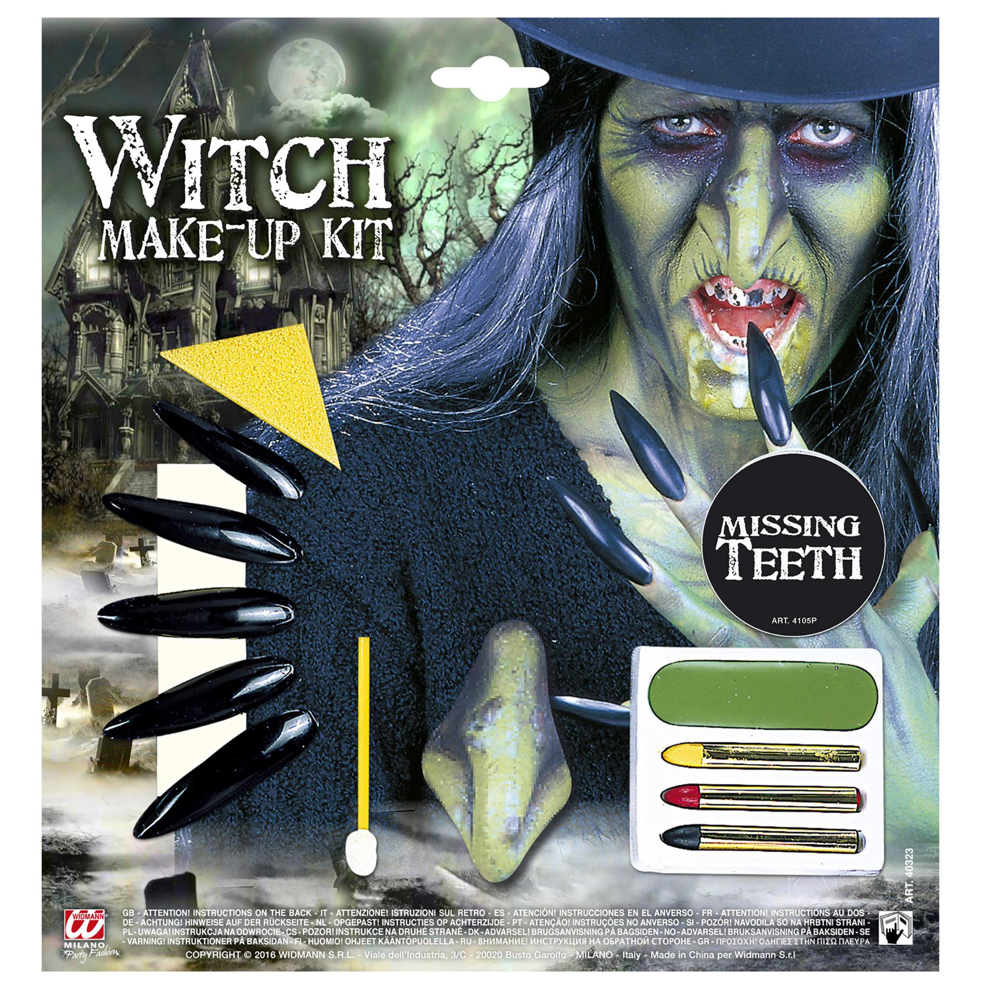 Make up schmink set green witch heks met accessoires