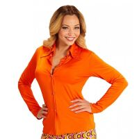 70's en 80's groovy disco blouse oranje dames shirt