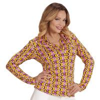 70's en 80's groovy disco blouse retro print discs shirt