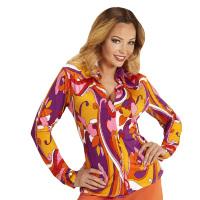 70's en 80's groovy disco blouse retro print orchidee shirt