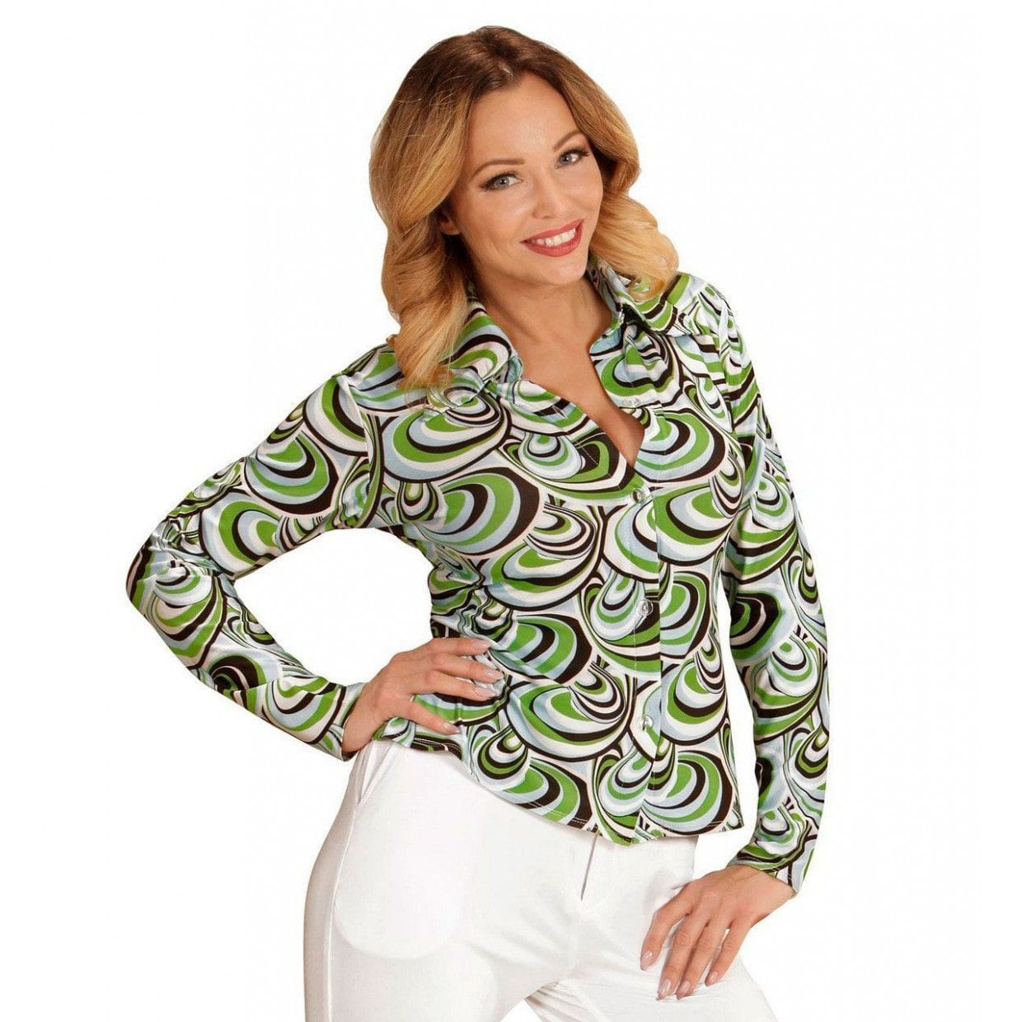 b413171c147 70's en 80's groovy disco blouse retro printje shirt dames groene golven