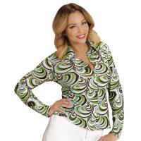 70's en 80's groovy disco blouse retro printje shirt dames groene golven