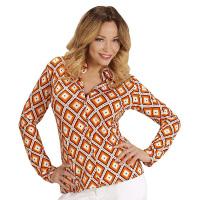 70's en 80's groovy disco blouse retro printje shirt dames
