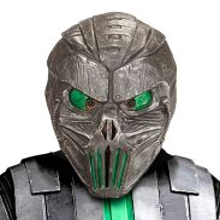 Alien masker ruimtewezen volwassen zilver met groen ogen