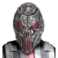 Alien masker zilver met roze ogen volwassen