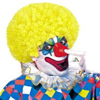 Clownspruik krullend geel volwassen