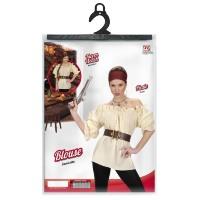 Dames blouse voor een cowboy of piraat beige