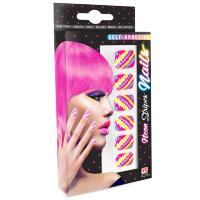 Gestreepte gekleurde neon disco nagels