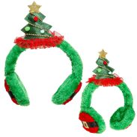Kerstboom oorwarmers groen volwassen