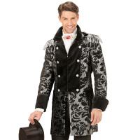 Lange zwart zilvere parade jas volwassen carnaval