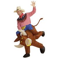 Opblaasbaar op hol geslagen rodeo stier kostuum volwassen