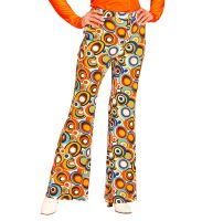 Retro disco broek 70's dames bubbels print