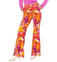 Retro disco broek 70's dames orchidee print