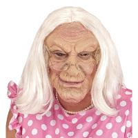 Rimpelige oude oma masker met pruik