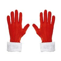 Rode kerstman of kerstvrouw handschoenen met witte pluche