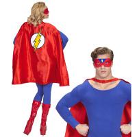 Rode superheld cape met oogmasker volwassen super hero outfit
