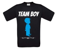 Team boy T-shirt voor een gender reveal party