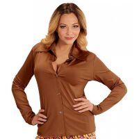 The 70's Groovy blouse bruin dames shirt