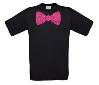 Vlinderstrik glitter roze T-shirt
