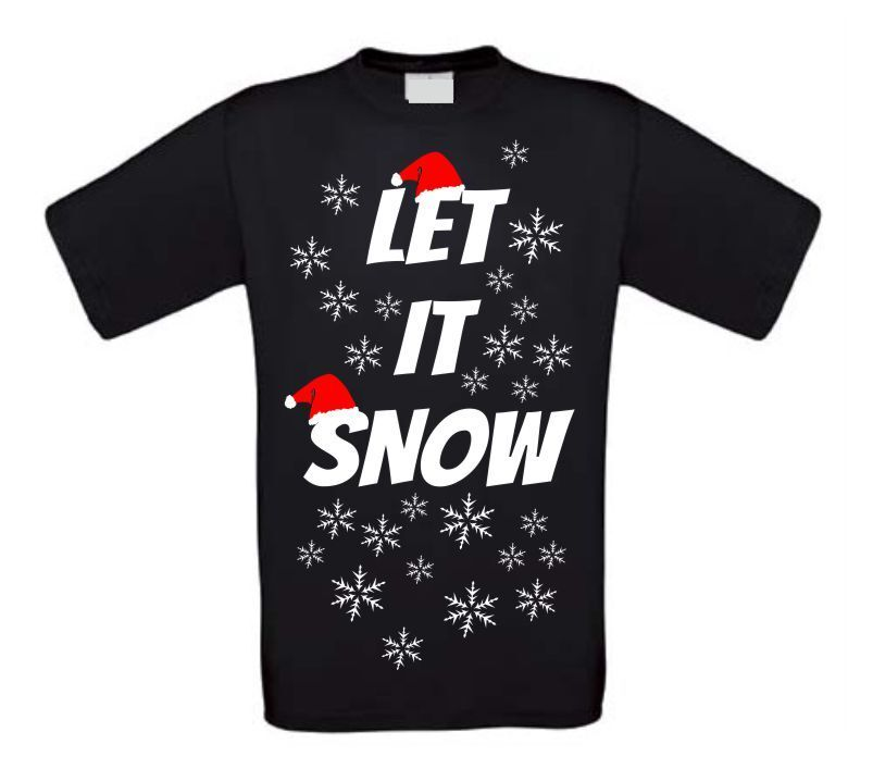 Let it snow met kerstmuts t-shirt