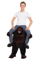 Bereden instap kostuum op de rug van een gorilla aap zitten