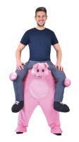 Bereden instap kostuum op de rug van een varken zitten