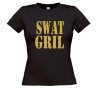 swat girl T-shirt glitter goud