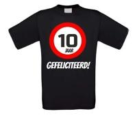 Verjaardags T-shirt 10 jaar verkeersbord
