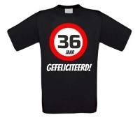 Verjaardags T-shirt 36 jaar verkeersbord