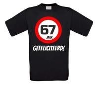 Verjaardags T-shirt 67 jaar verkeersbord