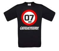 Verjaardags T-shirt 7 jaar verkeersbord
