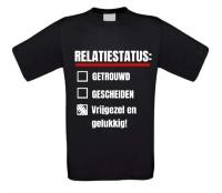 Relatiestatus shirt vrijgezel en gelukkig