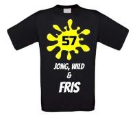 Verjaardags T-shirt 57 jaar jong wild en fris