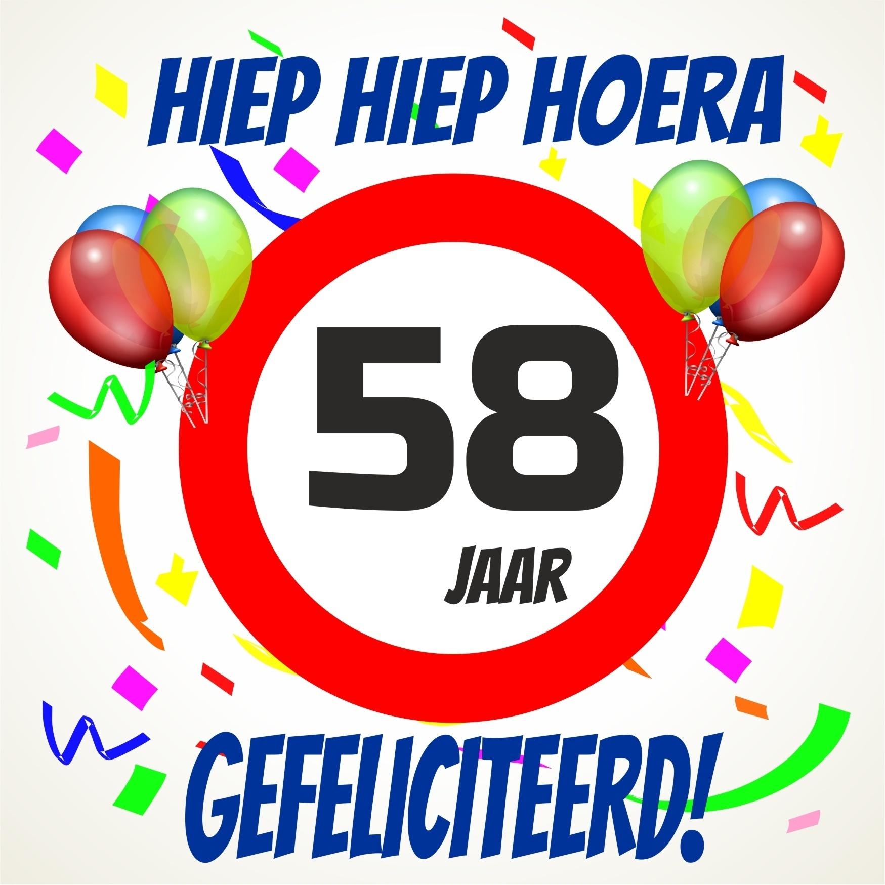 58 jaar Verjaardags tegeltje 58 jaar voordelig bij  58 jaar